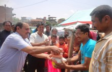 Nepalese earthquake survivors receive vital supplies from YMCA Nepal. Text NEPA10 to 70070 with your donation amount to get aid to more people in need. Photo: Nepal YMCA