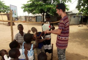 ICS volunteers helped introduce 'tippy taps' devices to promote hand washing, while saving water in the slum communities of Lomé, Togo.