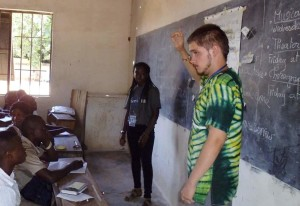 Josh, from Wales, teaches English to a school in Togo. He never expected to be able to do that until he became an ICS volunteer with us. [photo: YCI]
