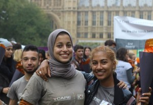 In September, Chloe (right) joined 60 other International Citizen Service Volunteers to ensure that UK leaders did not forget their commitment to the Sustainable Development Goals.